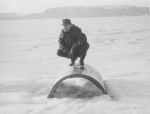 Nadeau on F-89 cowling on Wolstenholme Fjord