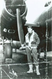 WO2 Cameron in front of a Halifax VII.