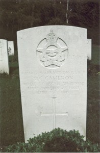 Warrant Officer II M.C. Cameron, Wireless Operator / Air Gunner RCAF. Michael Cecil Cameron is commemorated on page 501 of the Second World War Book of Remembrance.