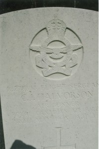 Flight Sergeant C.J. Halvorson, Air Gunner RCAF. Clarence Julius Halvorson was 34 years of age and is commemorated on page 521 of the Second World War Book of Remembrance