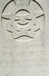 Pilot Officer K.B. McIvor, Flight Engineer RCAF.  Kenneth Bruce McIvor was 34 years of age and is commemorated on page 543 of the Second World War Book of Remembrance.
