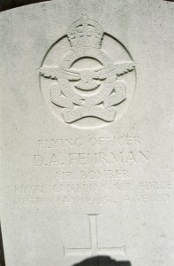 Flying Officer D.A. Fehrman, Air Bomber RCAF.  David Arthur Fehrman was 20 years of age and is commemorated on page 514 of the Second World War Book of Remembrance.
