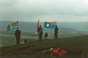 RAF and RCAF Colours flying at the crash site during the dedication ceremony, 18 May 1995